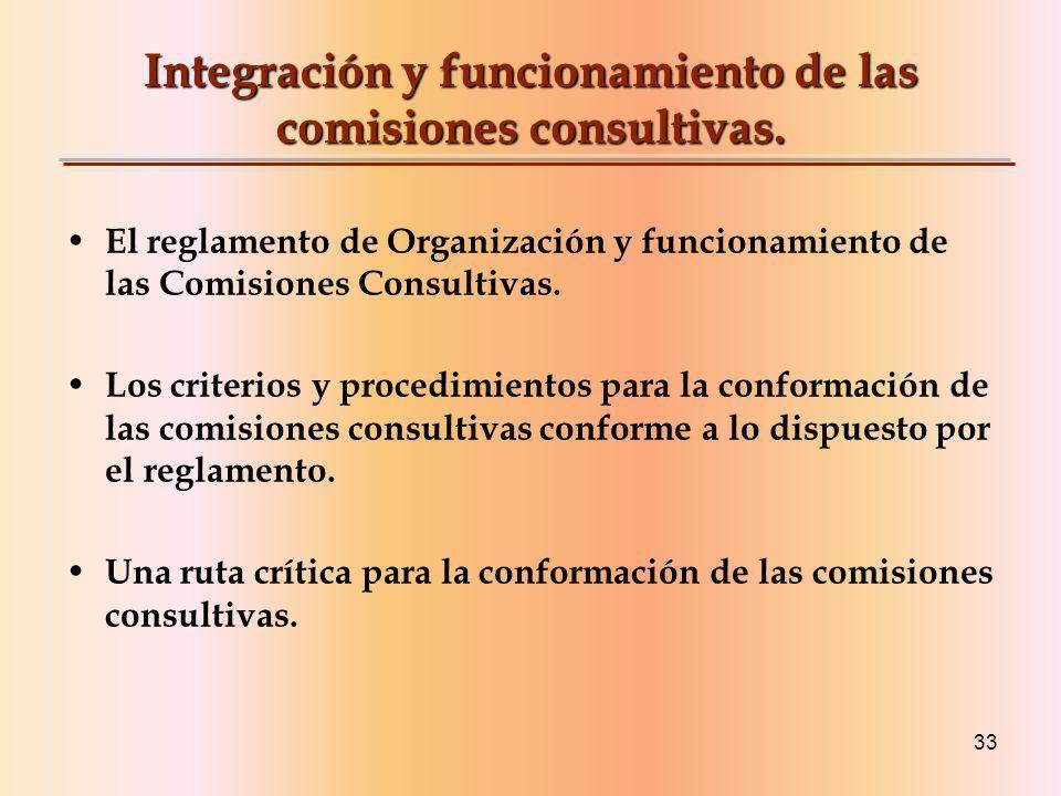 Integración y funcionamiento de las comisiones consultivas.