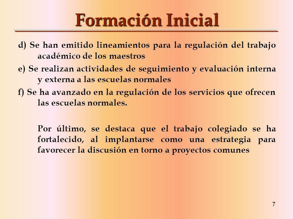 Formación Inicial d) Se han emitido lineamientos para la regulación del trabajo académico de los maestros.