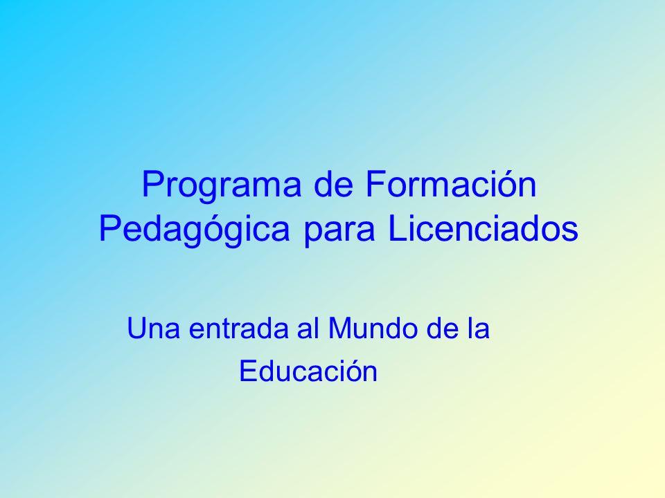 Programa de Formación Pedagógica para Licenciados