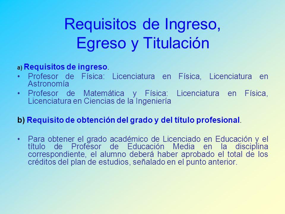Requisitos de Ingreso, Egreso y Titulación