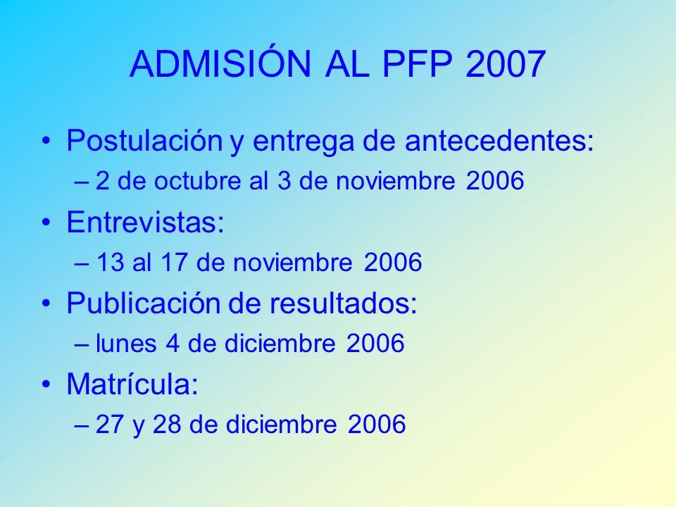 ADMISIÓN AL PFP 2007 Postulación y entrega de antecedentes: