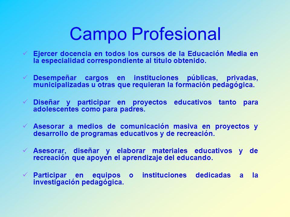Campo Profesional Ejercer docencia en todos los cursos de la Educación Media en la especialidad correspondiente al título obtenido.