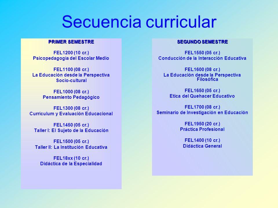Secuencia curricular PRIMER SEMESTRE FEL1200 (10 cr.)