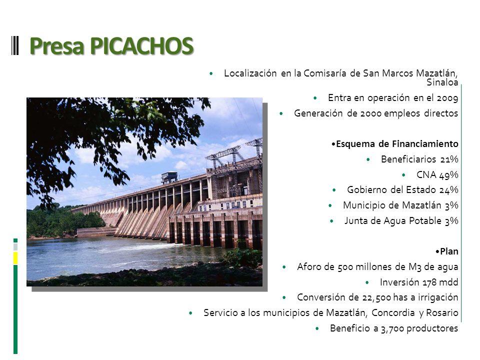 Presa PICACHOS Localización en la Comisaría de San Marcos Mazatlán, Sinaloa. Entra en operación en el 2009.