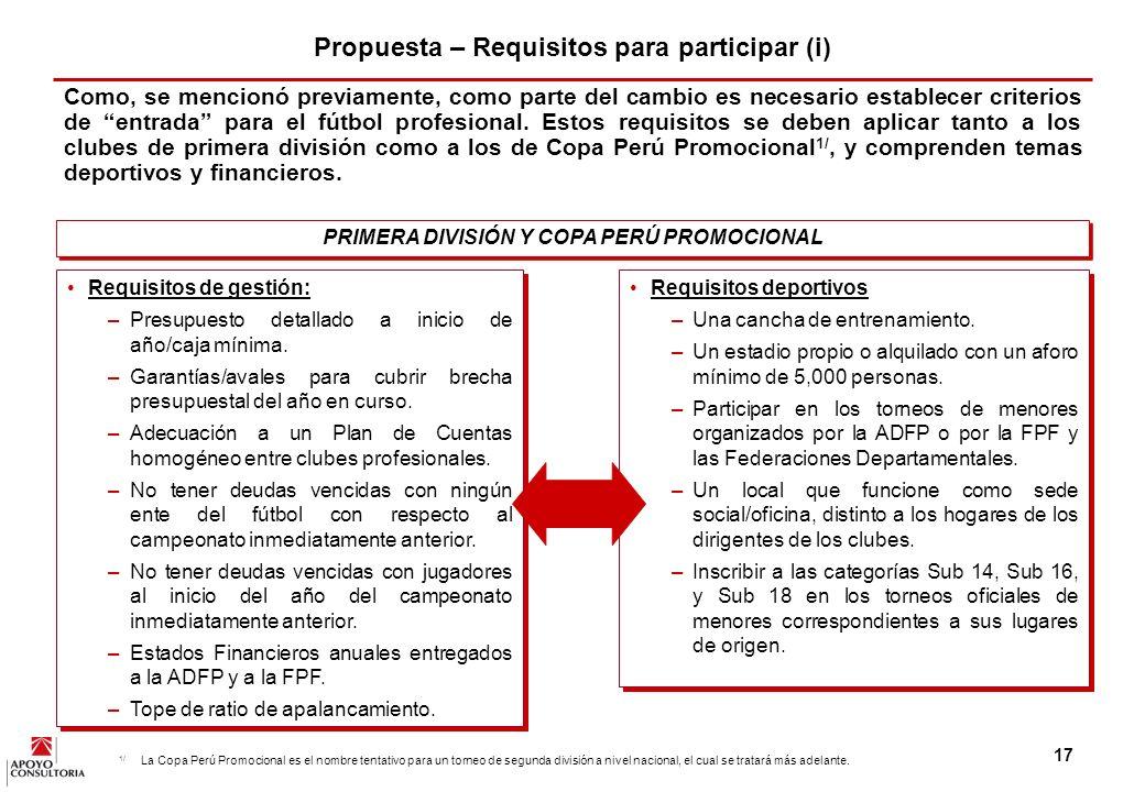 Propuesta – Requisitos para participar (i)