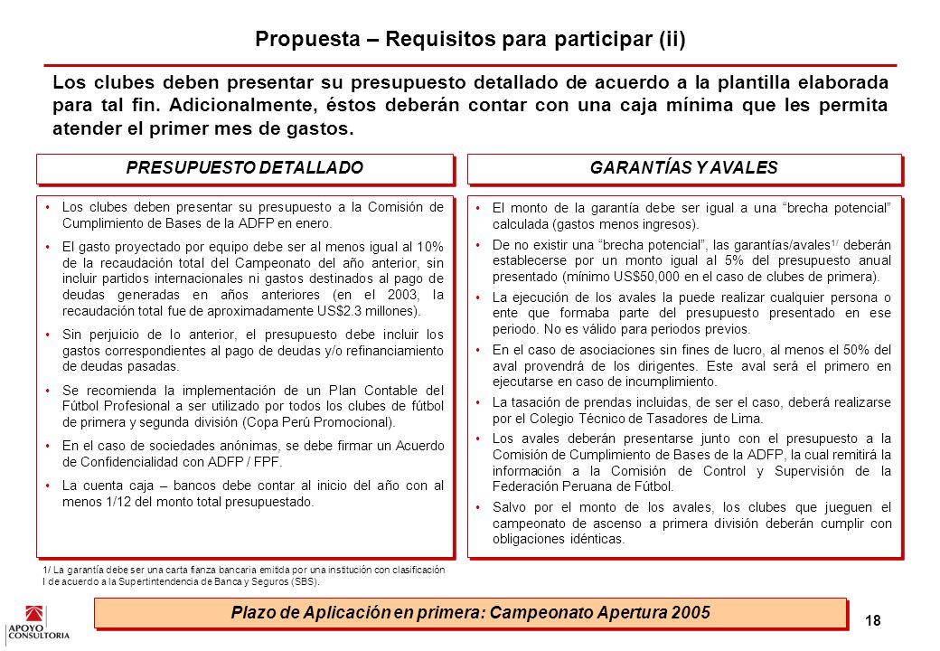 Propuesta – Requisitos para participar (ii)