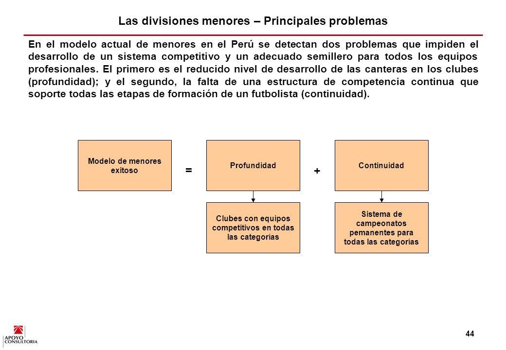 Las divisiones menores – Principales problemas = +