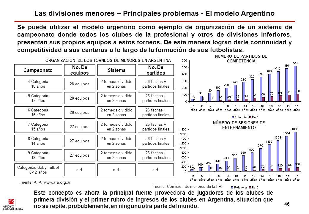 Las divisiones menores – Principales problemas - El modelo Argentino