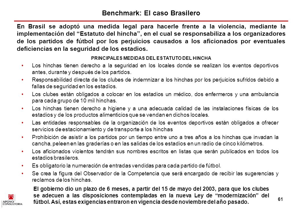 Benchmark: El caso Brasilero
