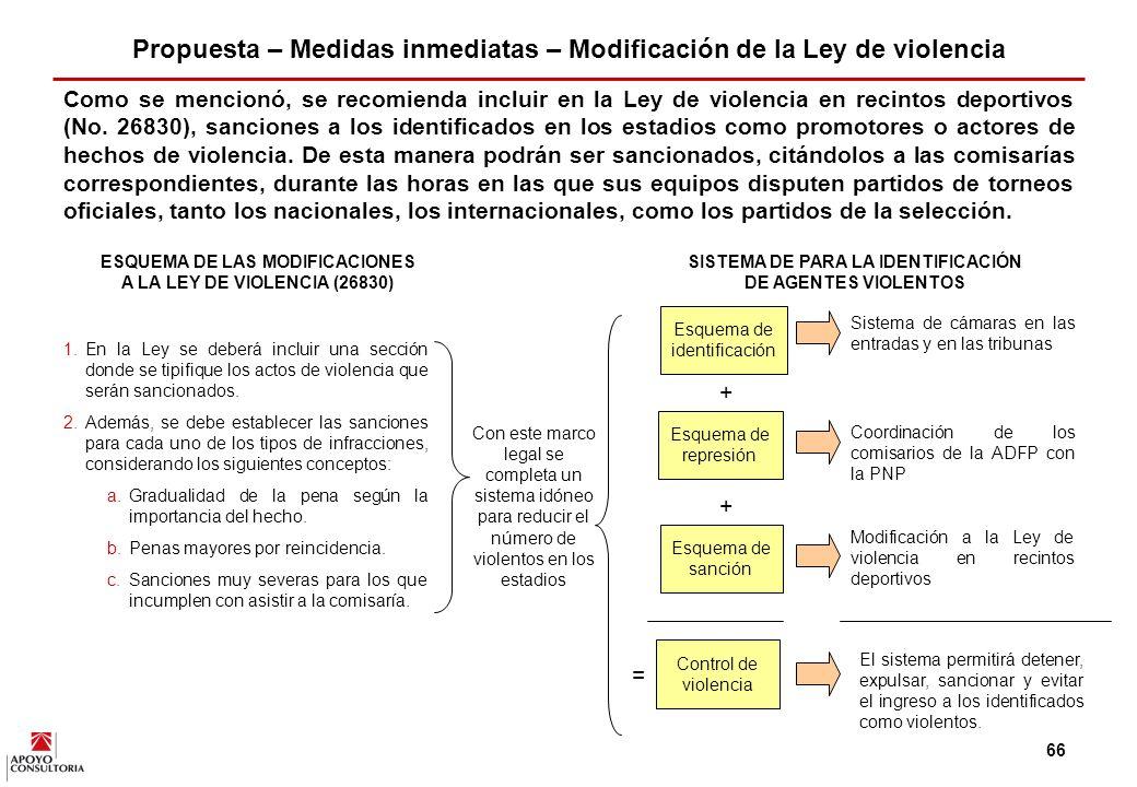 Propuesta – Medidas inmediatas – Modificación de la Ley de violencia