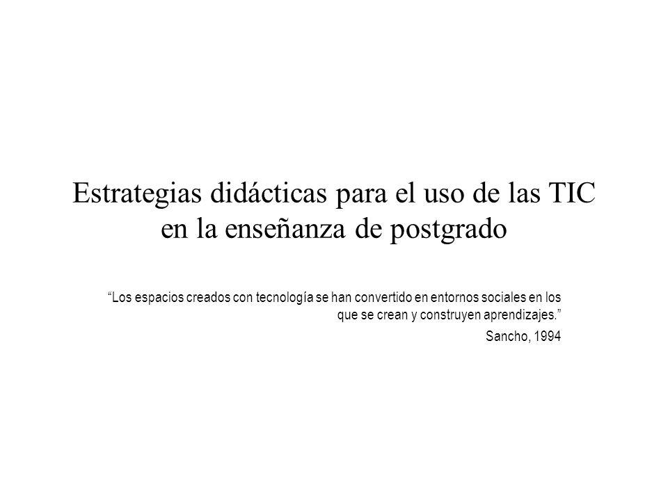 Estrategias didácticas para el uso de las TIC en la enseñanza de postgrado