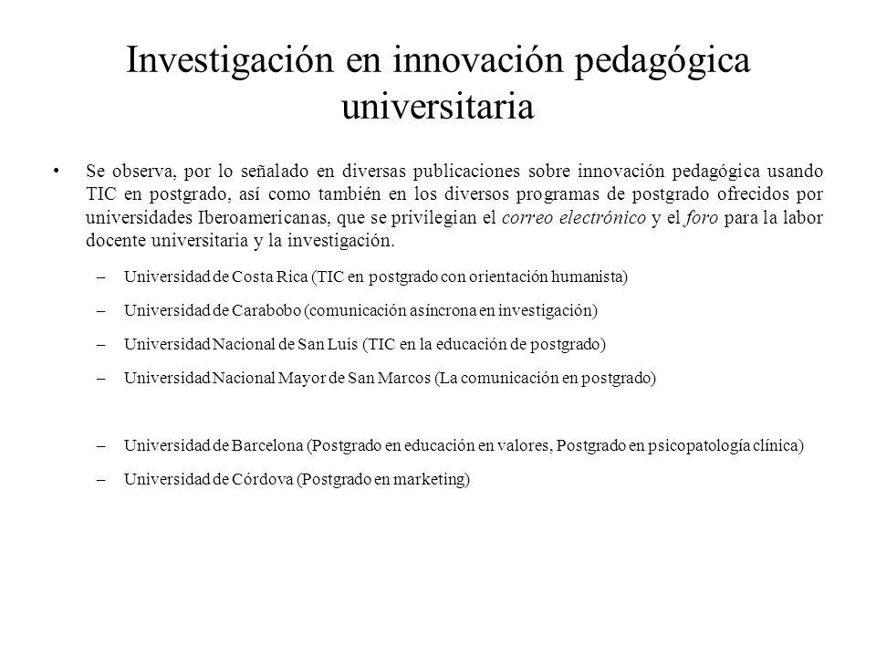 Investigación en innovación pedagógica universitaria