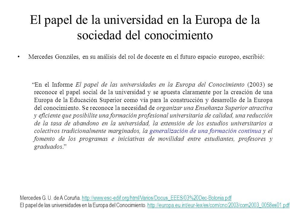 El papel de la universidad en la Europa de la sociedad del conocimiento