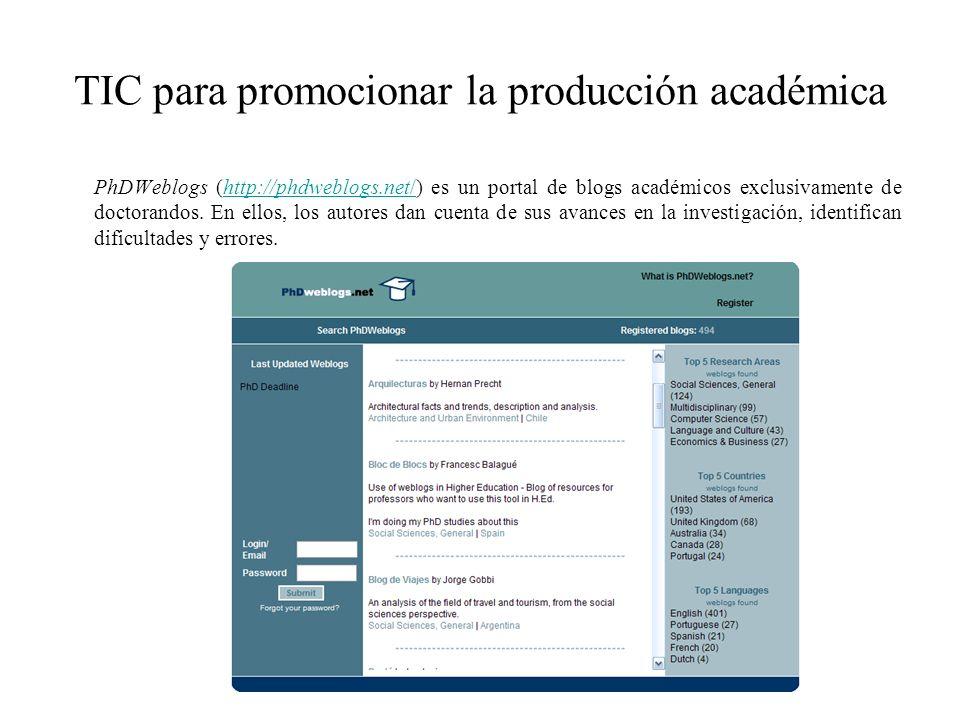 TIC para promocionar la producción académica