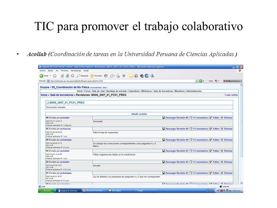 TIC para promover el trabajo colaborativo