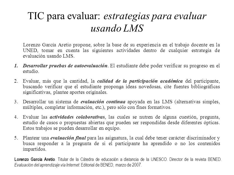 TIC para evaluar: estrategias para evaluar usando LMS