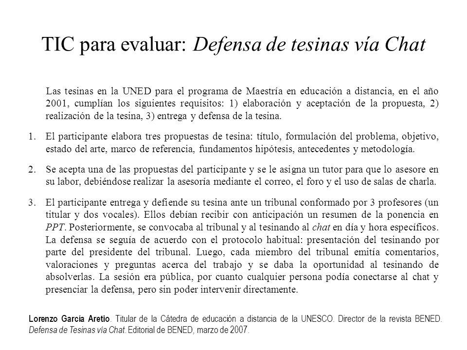 TIC para evaluar: Defensa de tesinas vía Chat