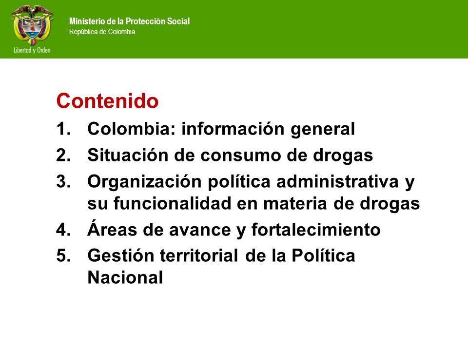 Contenido Colombia: información general Situación de consumo de drogas