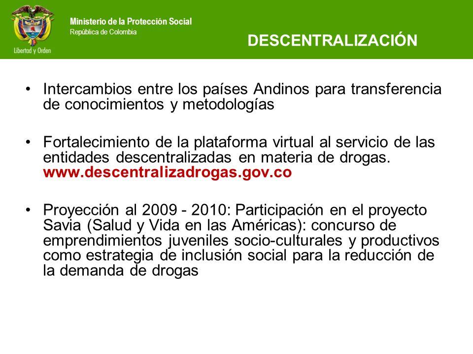 DESCENTRALIZACIÓN Intercambios entre los países Andinos para transferencia de conocimientos y metodologías.