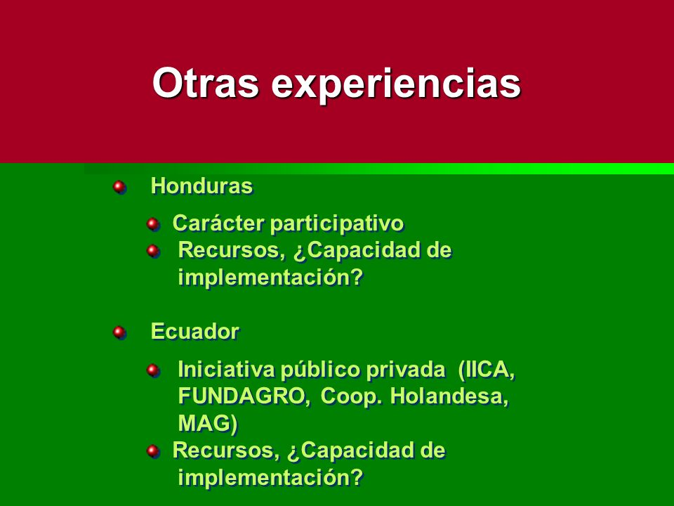 Otras experiencias Honduras Carácter participativo