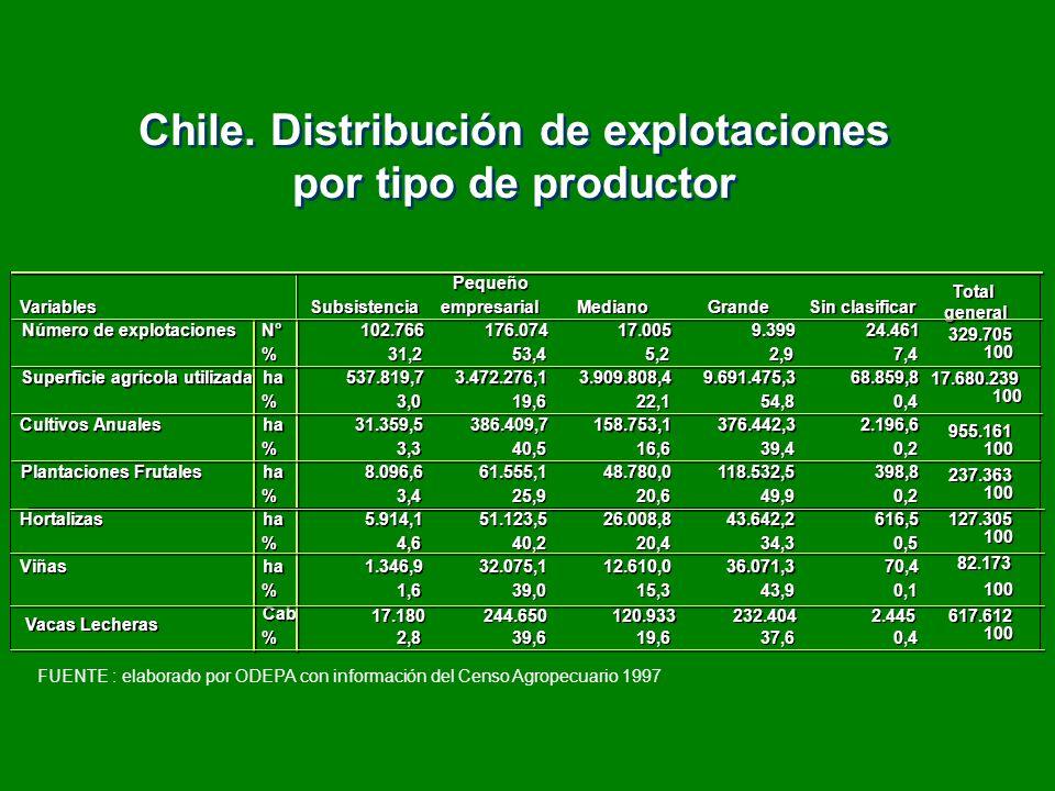 Chile. Distribución de explotaciones