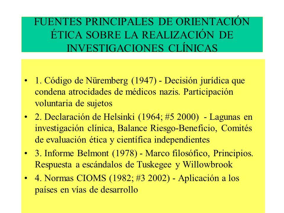 FUENTES PRINCIPALES DE ORIENTACIÓN ÉTICA SOBRE LA REALIZACIÓN DE INVESTIGACIONES CLÍNICAS