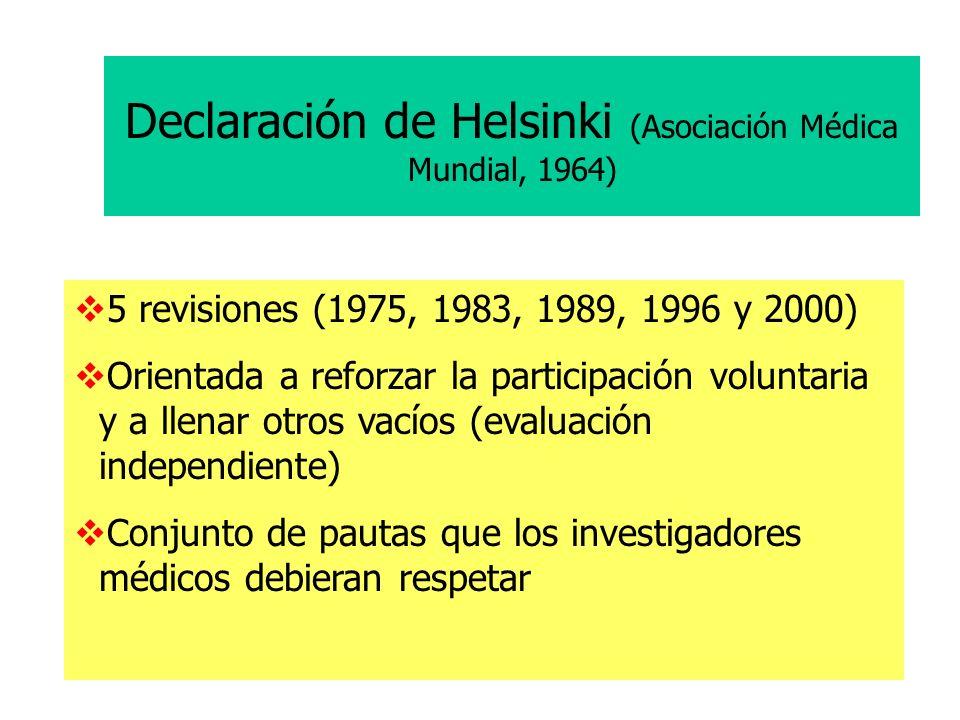 Declaración de Helsinki (Asociación Médica Mundial, 1964)