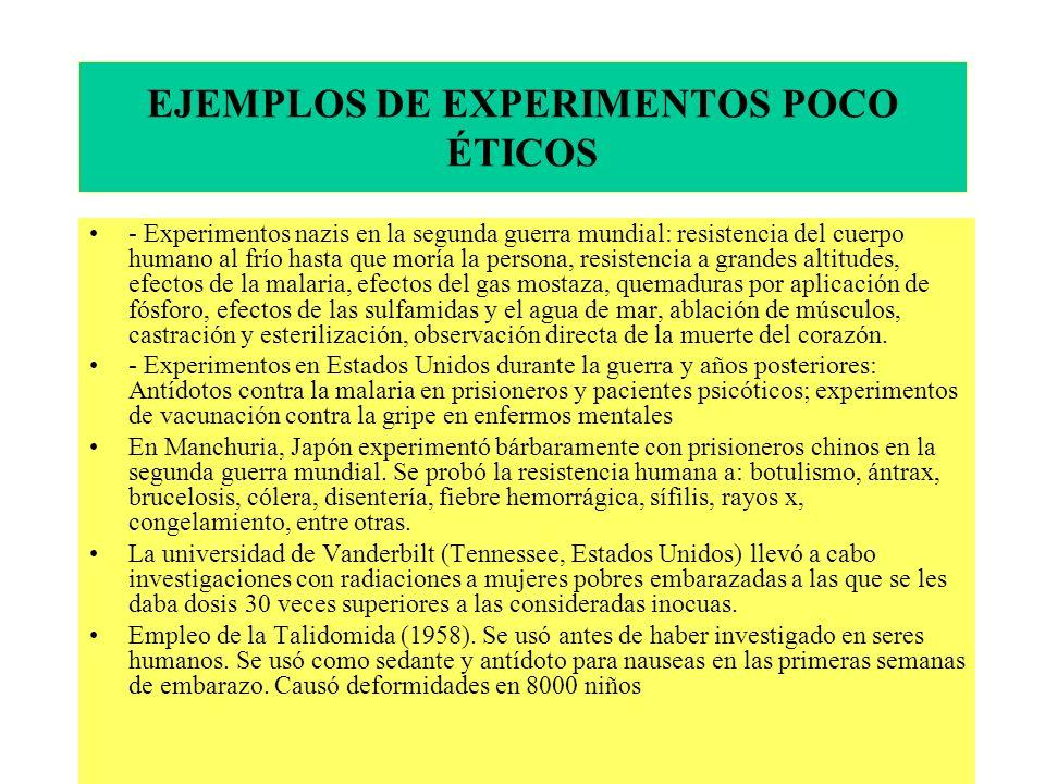 EJEMPLOS DE EXPERIMENTOS POCO ÉTICOS