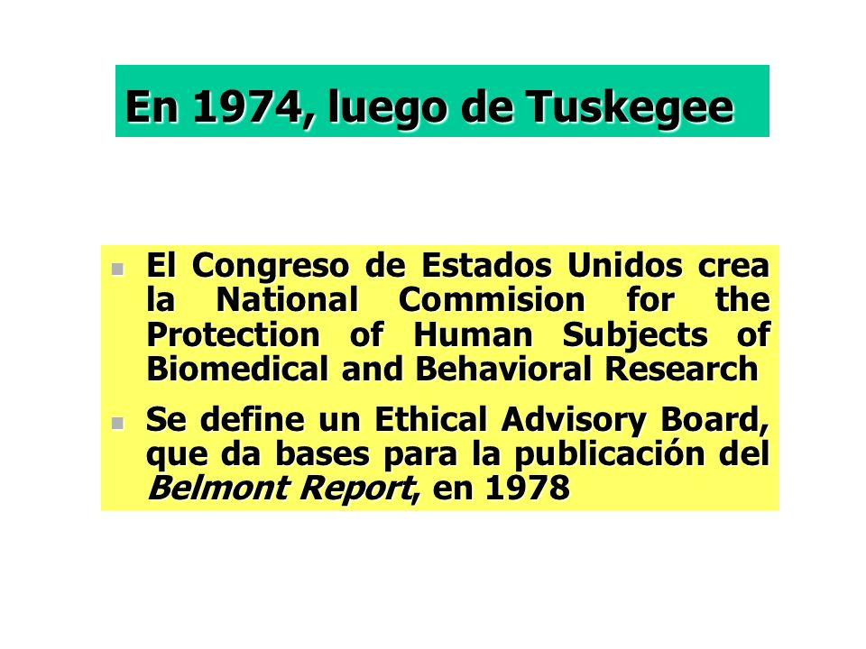 En 1974, luego de Tuskegee