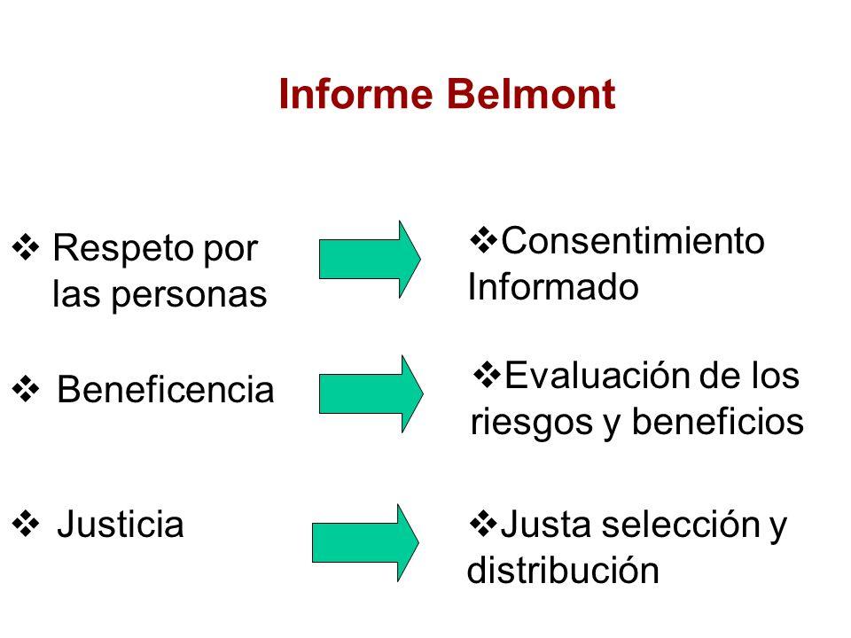 Informe Belmont Consentimiento Informado Respeto por las personas