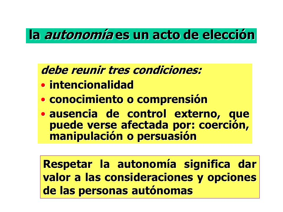la autonomía es un acto de elección