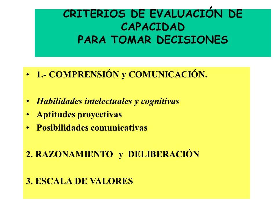 CRITERIOS DE EVALUACIÓN DE CAPACIDAD PARA TOMAR DECISIONES