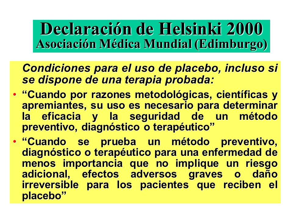 Declaración de Helsinki 2000 Asociación Médica Mundial (Edimburgo)