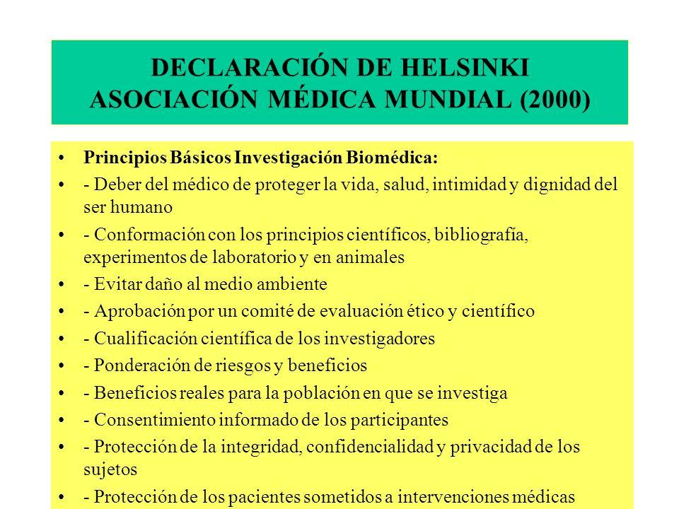 DECLARACIÓN DE HELSINKI ASOCIACIÓN MÉDICA MUNDIAL (2000)