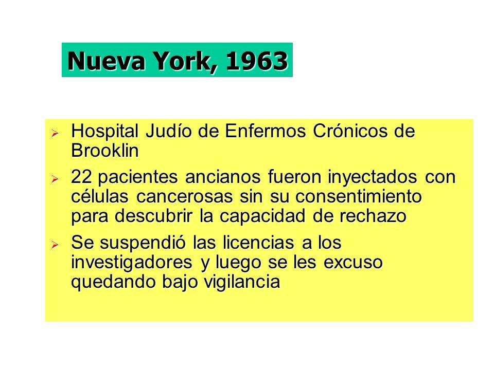 Nueva York, 1963 Hospital Judío de Enfermos Crónicos de Brooklin