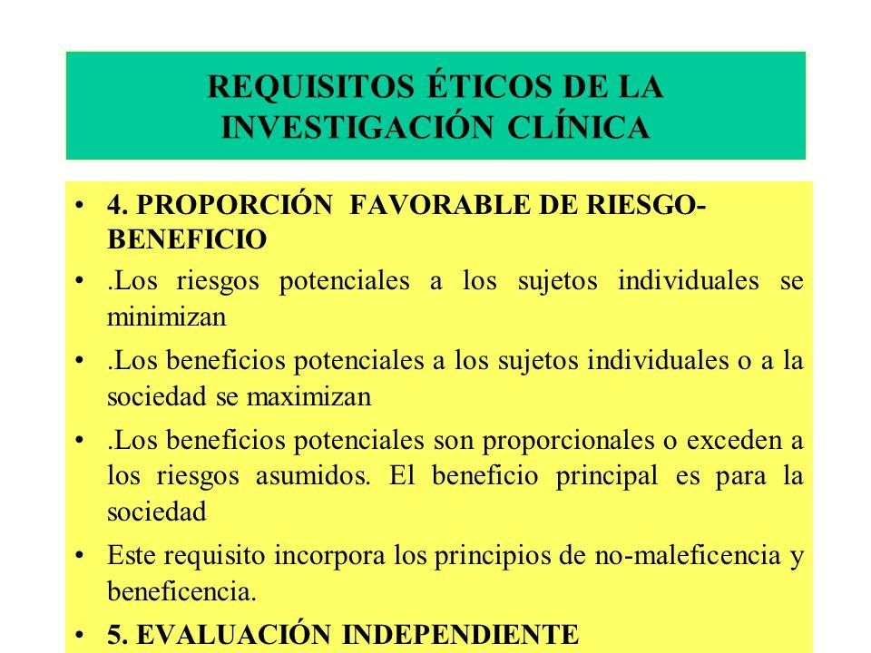 REQUISITOS ÉTICOS DE LA INVESTIGACIÓN CLÍNICA