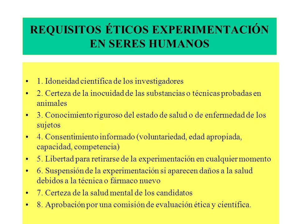 REQUISITOS ÉTICOS EXPERIMENTACIÓN EN SERES HUMANOS
