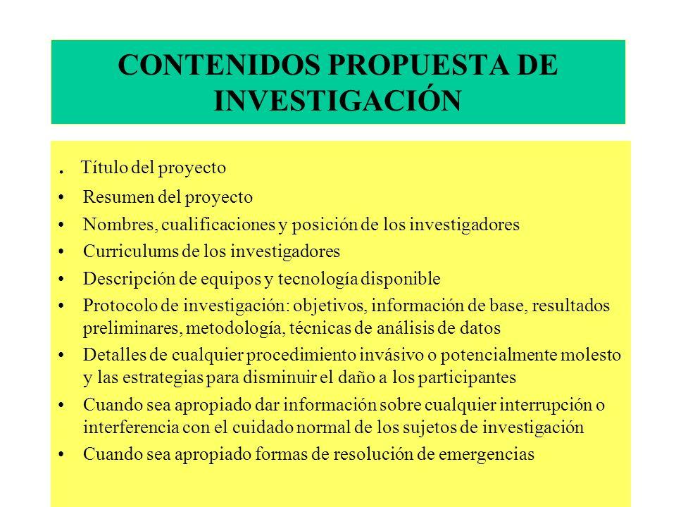 CONTENIDOS PROPUESTA DE INVESTIGACIÓN