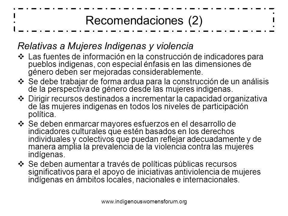 Recomendaciones (2) Relativas a Mujeres Indigenas y violencia