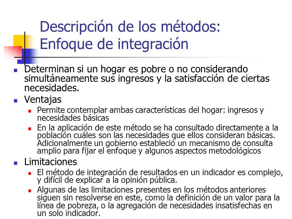 Descripción de los métodos: Enfoque de integración