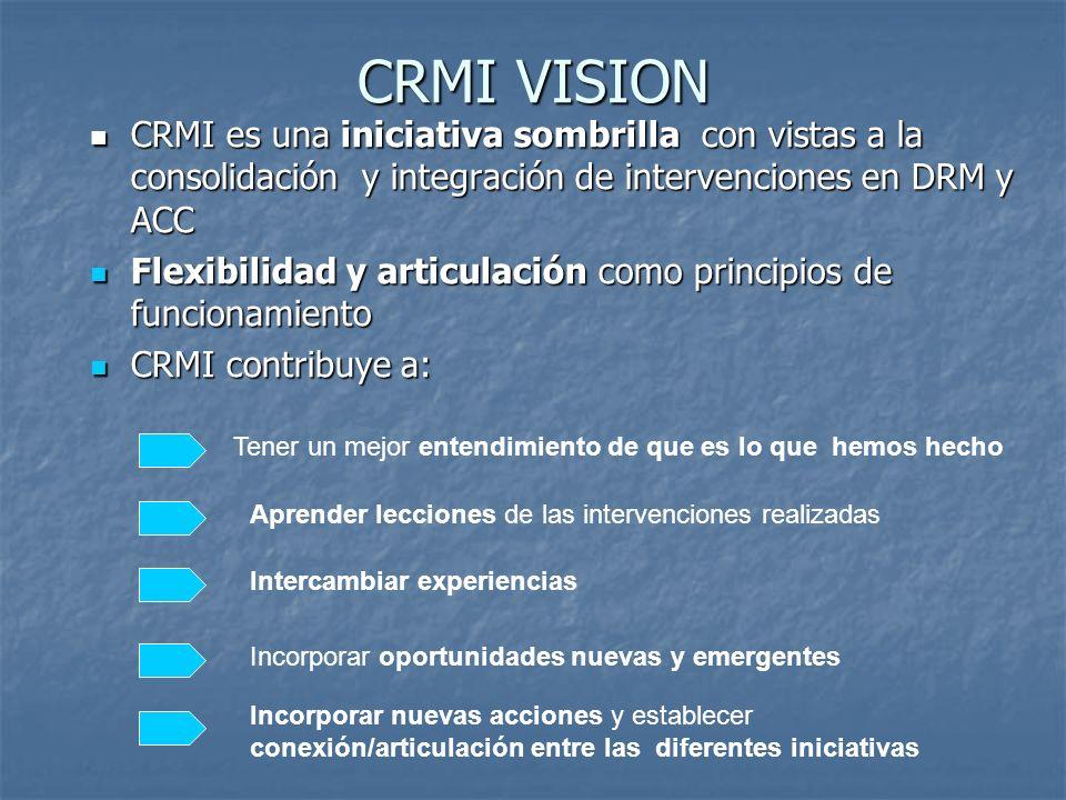 CRMI VISION CRMI es una iniciativa sombrilla con vistas a la consolidación y integración de intervenciones en DRM y ACC.