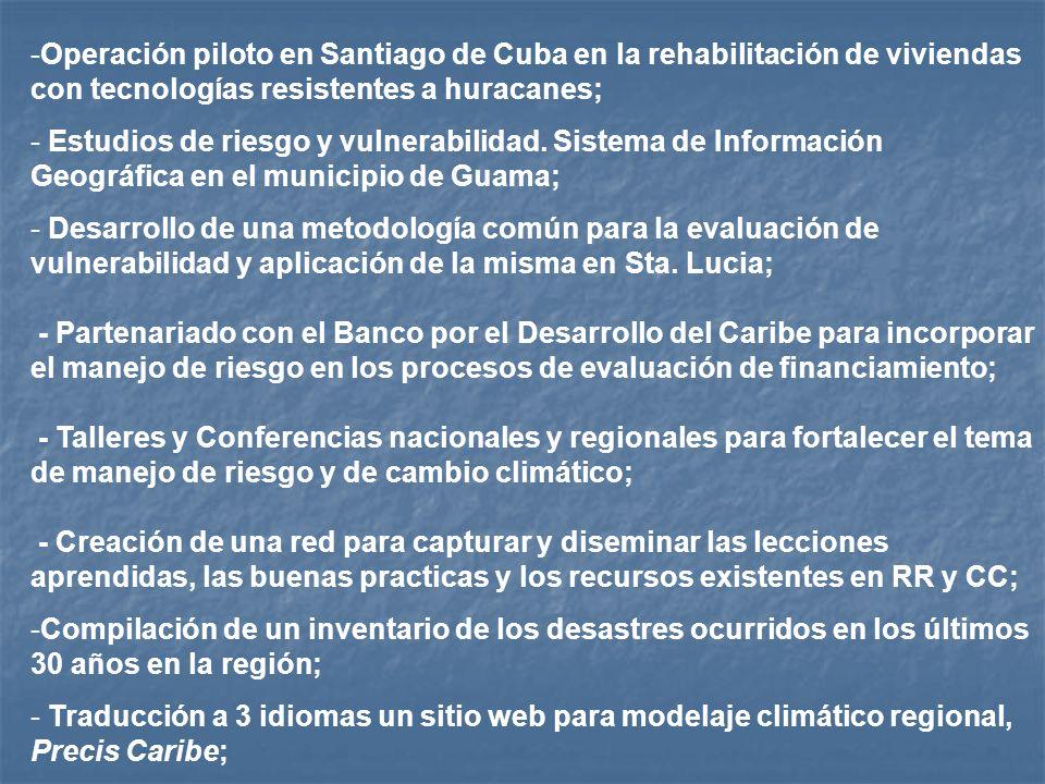 Operación piloto en Santiago de Cuba en la rehabilitación de viviendas con tecnologías resistentes a huracanes;