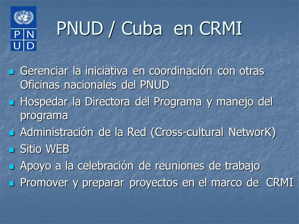 PNUD / Cuba en CRMI Gerenciar la iniciativa en coordinación con otras Oficinas nacionales del PNUD.