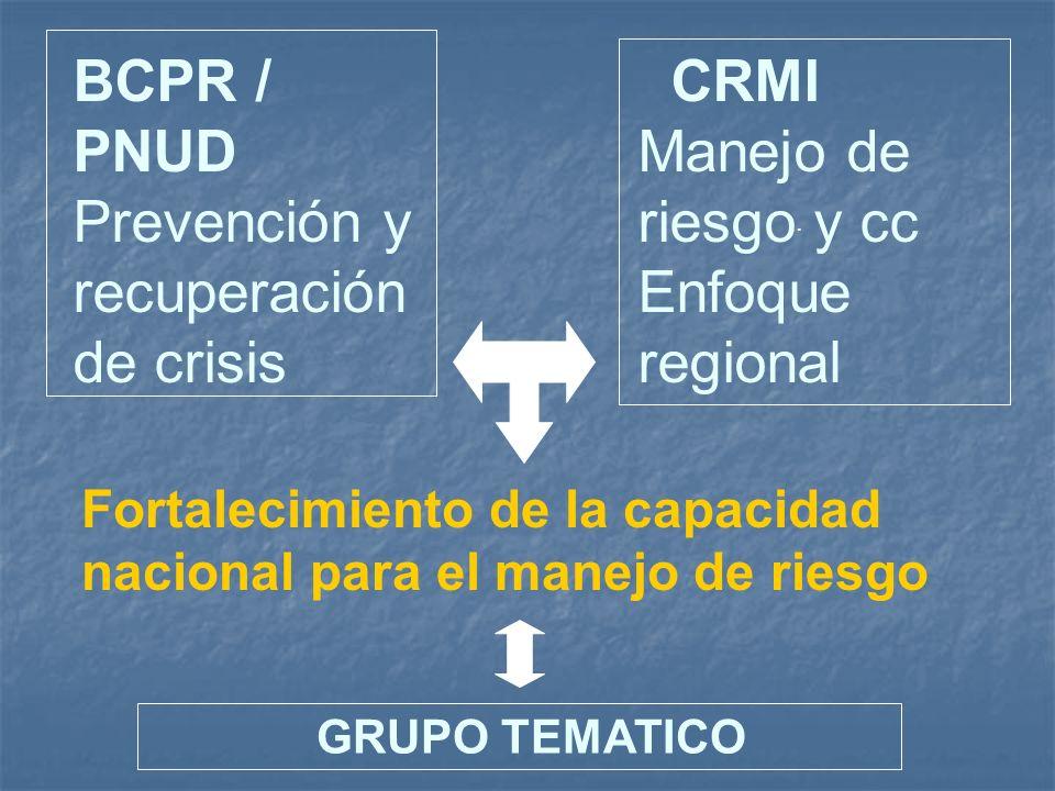 BCPR / PNUD Prevención y recuperación de crisis
