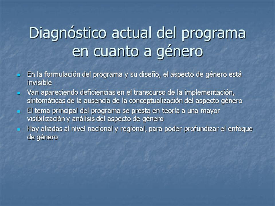 Diagnóstico actual del programa en cuanto a género