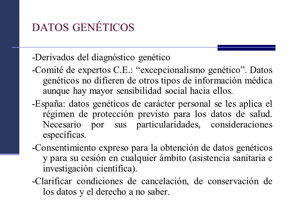 DATOS GENÉTICOS -Derivados del diagnóstico genético