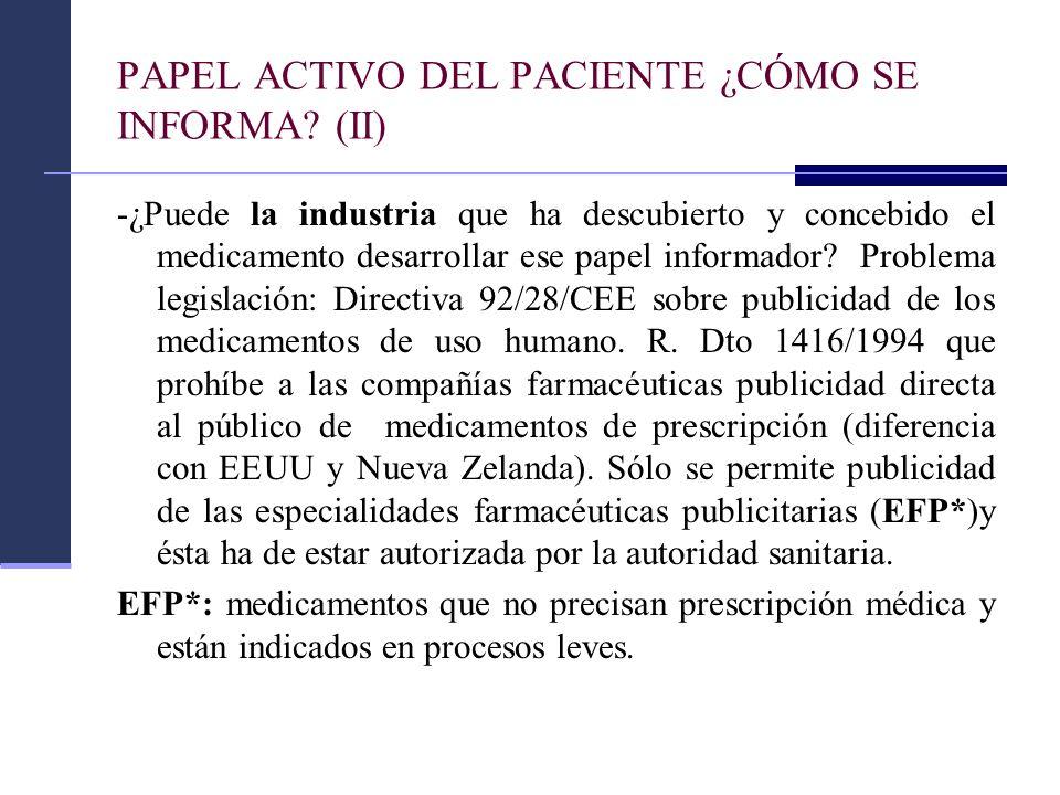 PAPEL ACTIVO DEL PACIENTE ¿CÓMO SE INFORMA (II)