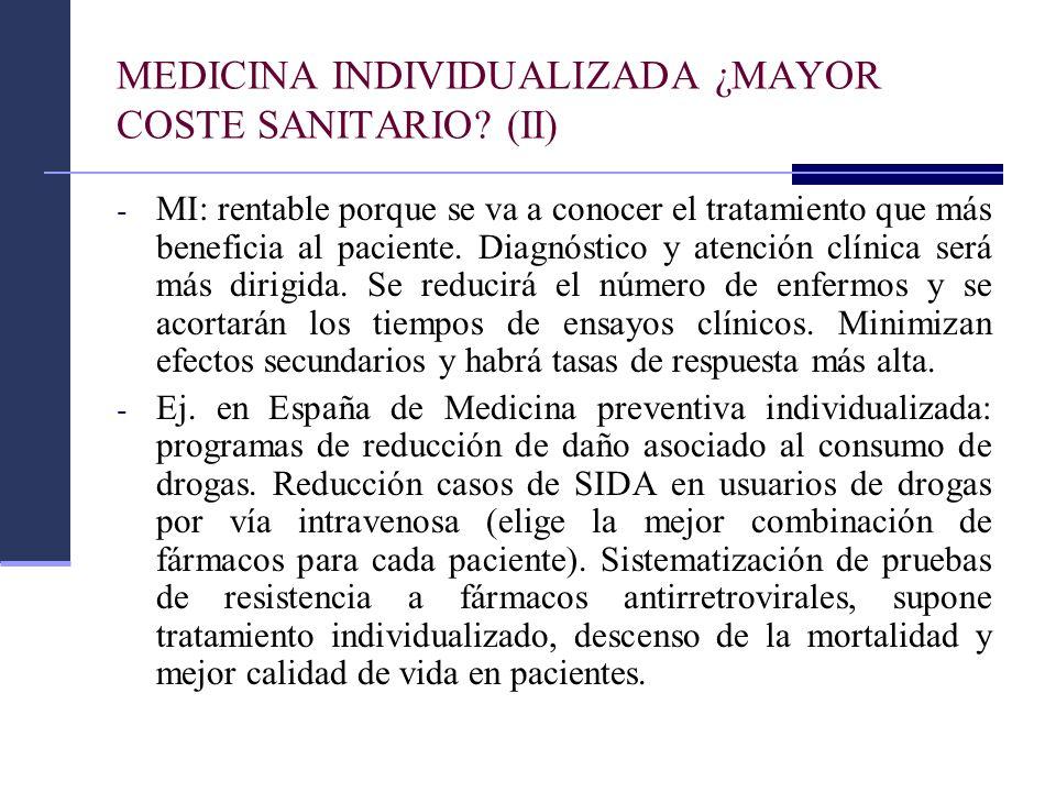 MEDICINA INDIVIDUALIZADA ¿MAYOR COSTE SANITARIO (II)