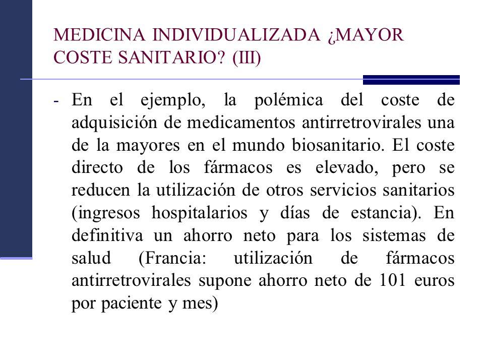 MEDICINA INDIVIDUALIZADA ¿MAYOR COSTE SANITARIO (III)