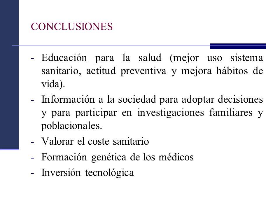 CONCLUSIONES Educación para la salud (mejor uso sistema sanitario, actitud preventiva y mejora hábitos de vida).